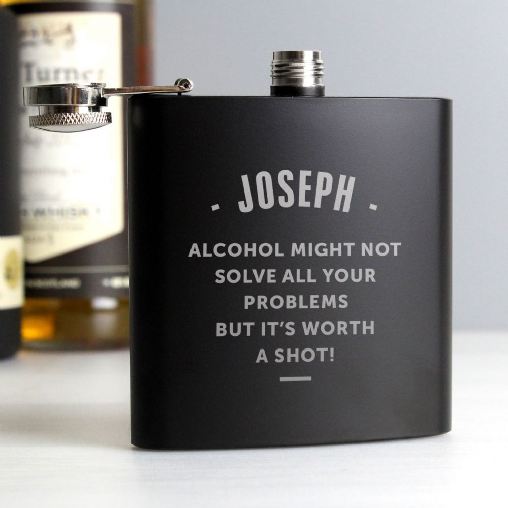 Personalised Any Message Black Hip Flask Gift Idea For Dad, Groom, Usher or Fathers Day